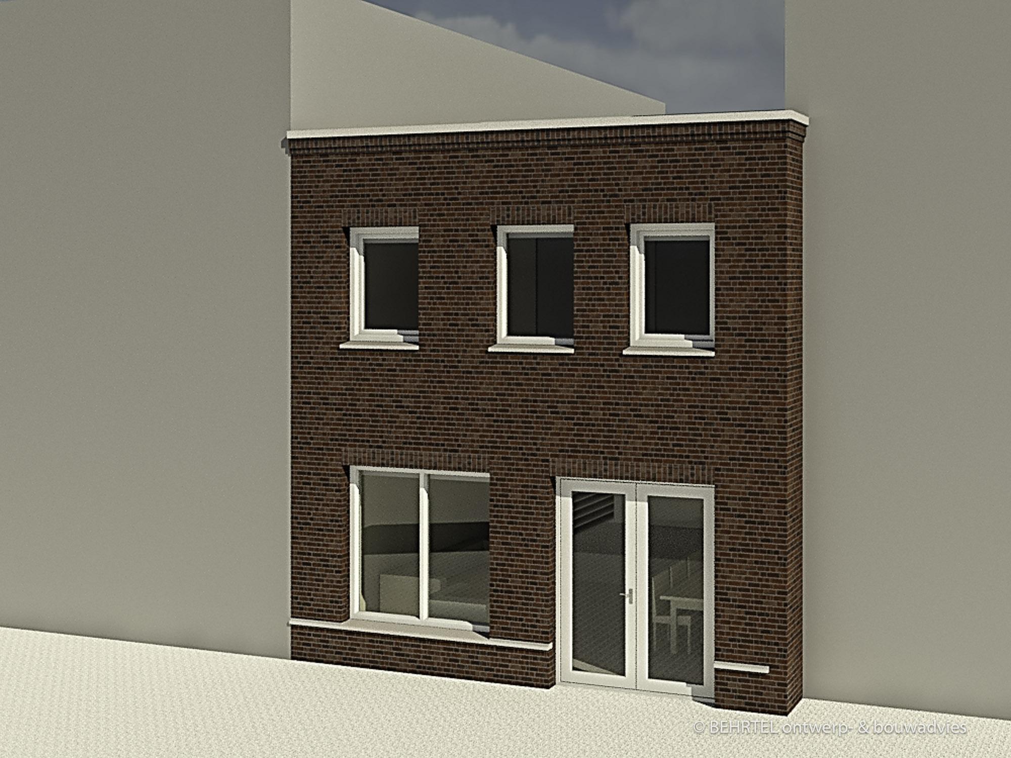 3D impressie achtergevel woning nieuwbouw A40 Purmerend
